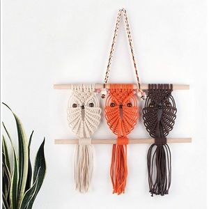 Three Owls Macrame Woven Wall Hanging NEW